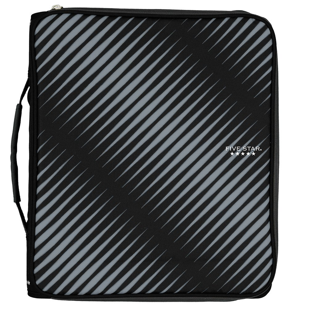 Five Star 2 Inch Zipper Binder, 3 Ring Binder, 6-Pocket Expanding File, Durable, Black (72536)