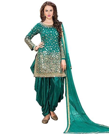 4db0e8c5fc LAXMINARAYAN FAB Women's Taffeta Silk Fabric Embroidered and Real Mirror  Work Patiala Suit (LNF012, Rama, XXXL): Amazon.in: Clothing & Accessories