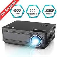Beamer, WiMiUS 4500 Lumen Videoprojektor, Full HD 1080P unterstützt Heimkino Projektor, 4000:1 Kontrast, Native 1280x800P, HDMI VGA AV TF USB Kompatibel mit Amazon Fire TV Stick / Laptop / Mobil usw.