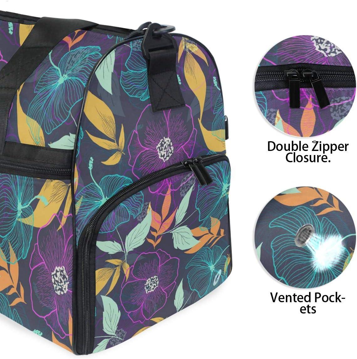 Purple Mint Floral Pattern Sports Gym Bag with Shoes Compartment Travel Duffel Bag for Men Women