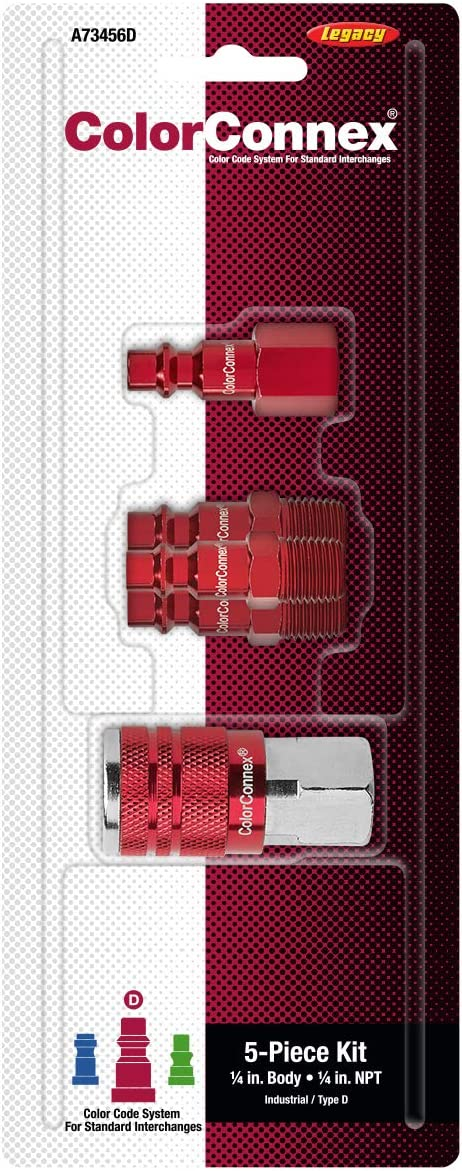Industrial Type D 1//4 in A73456D ColorConnex Coupler /& Plug Kit Red NPT 5 Piece