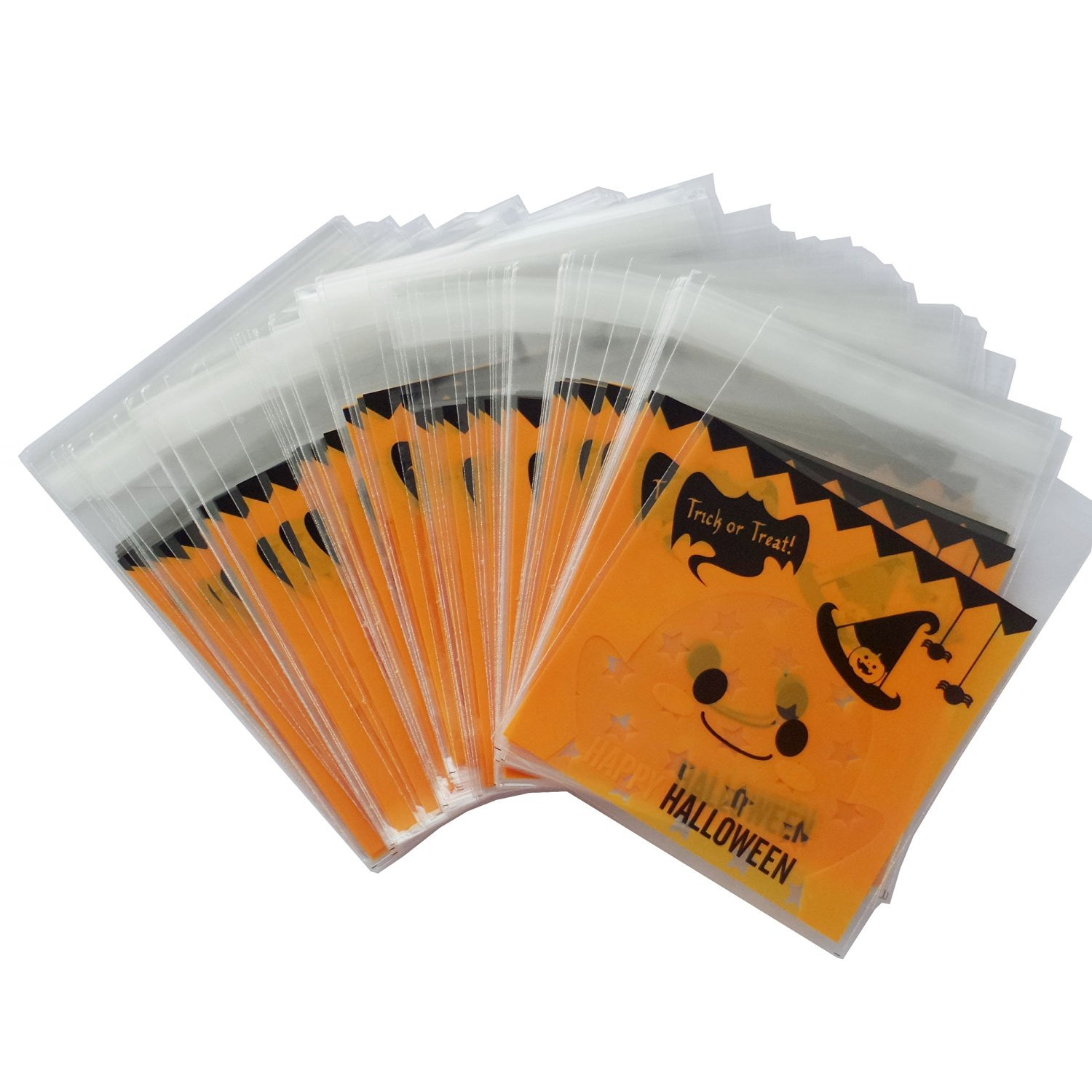 Fashionclubs 100pcs Self-Adhesive Halloween Pumpkins Plastic Bags For Cookie/Bakery/Candy/Biscuit (Pumpkins) Gift Opp Bag