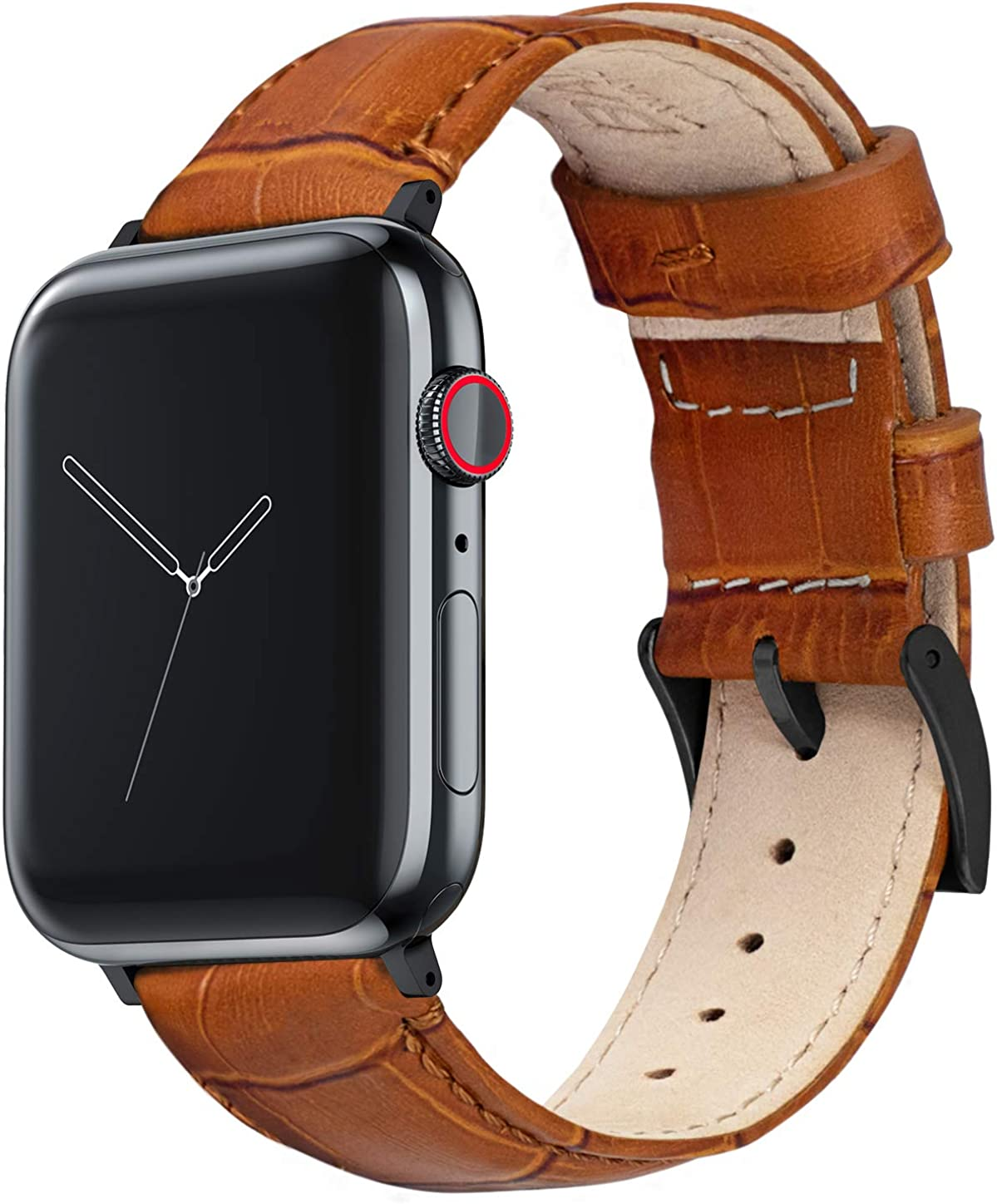 BARTON Watch Bands - Alligator Grain - Quick Release Leather Watch Bands - Choose Color & Size - Compatible with All Apple Watches - 38mm, 40mm, 42mm, 44mm