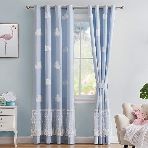 Vandesun Curtain Panel for Kid s Room Blended Cotton Semi-Blackout Unique Cloud Design 2 Panels Blue, Customize