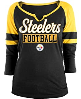 New Era Pittsburgh Steelers Ladies Slub Jersey 3 4 Sleeve Raglan Split  Scoop T- e4e0c8de9