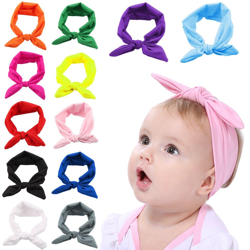 Fascigirl Baby Headband, 12 Piezas Bow Headwrap Elástico Oído Rabbit Hairband para el Niño Recién Nacido ODK153714MDQJB733