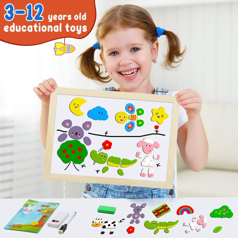 Tablero de Dibujo de Doble Cara Puzzles Rompecabezas Magn/éticos de Madera para Ni/ños Ni/ñas Juguete Educativo Animales COOLJOY Puzzles de Madera Magn/ético