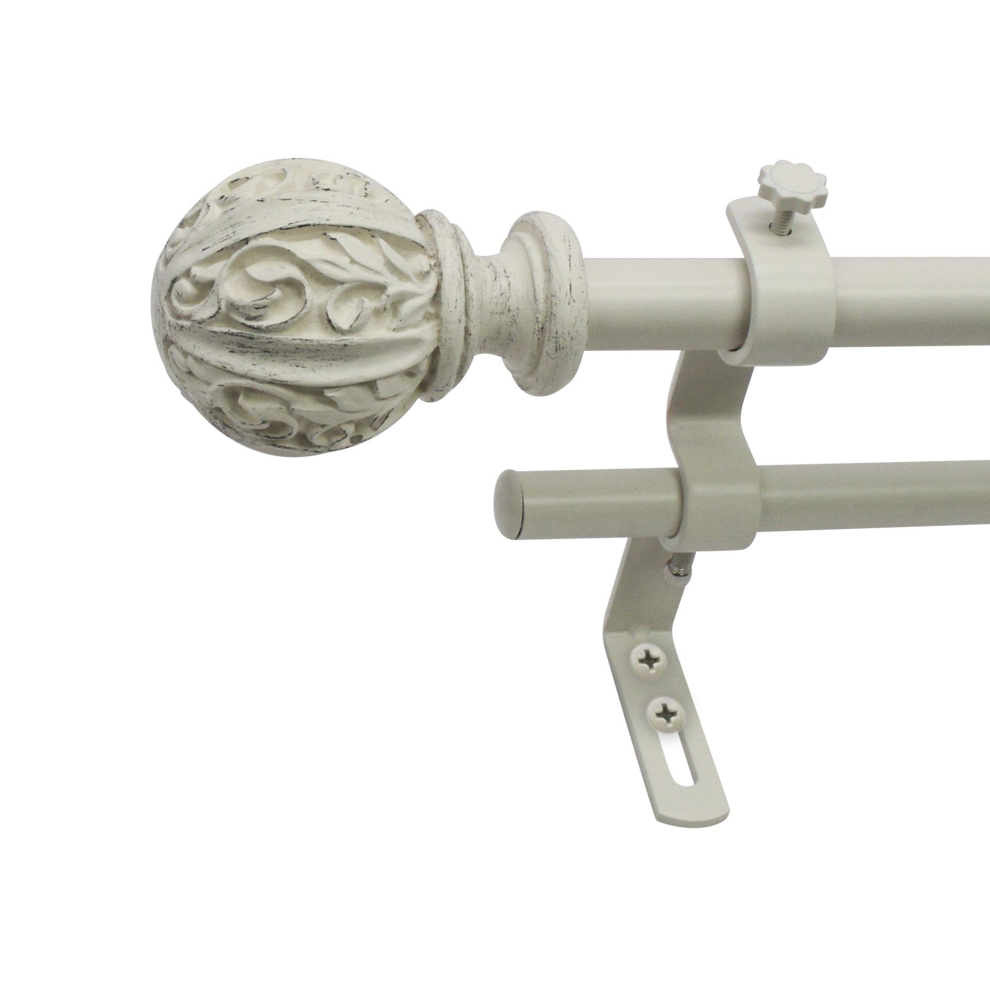 Montevilla Beme International 5/8'' Core Leaf Ball Double Telescoping Drapery Rod Set, 48-86'', Distressed White
