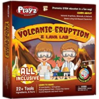 Playz Volcanic Eruption & Lava Lab Science Experiments Kit - 22+ Tools to Make Lava Bombs, Volcano Eruptions, Fizzing…