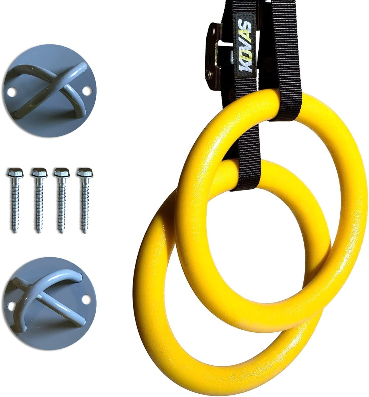 Kovas Gymnastic Rings with Adjustable Straps & Ring Mounts - Home Gym Gymnastics Equipment - Improve Fitness Strength & Balance with Body Weight Training Exercises