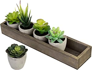 MyGift Mini Assorted Artificial Succulent Plants in Cement Pots with Vintage Brown Wood Planter Box