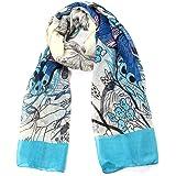 Écharpe Femme à Dessin Papillon et Fleur pour Automne et Hiver Couleur Bleu Clair-Taille 1.0X1.8m