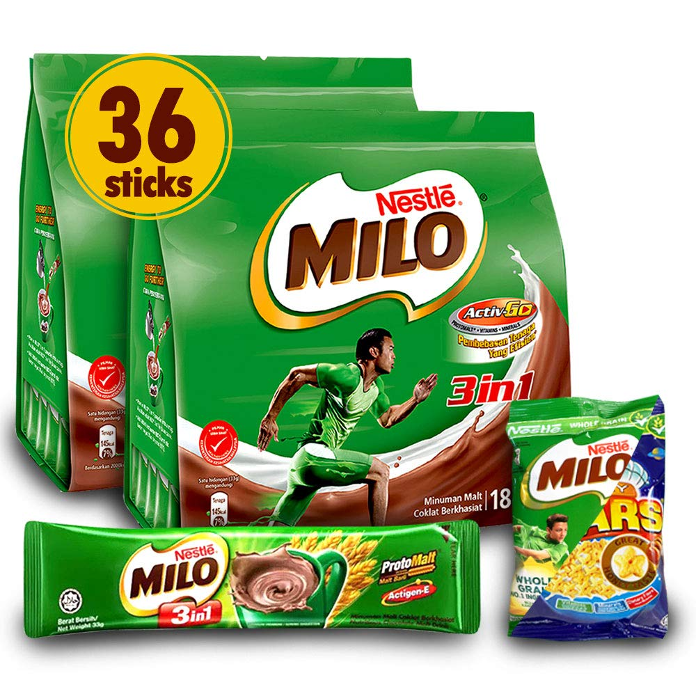 Nestle 2-Pack Milo 3-in-1 Chocolate Powder and 1-Pack Nestle Cereal Snack Bundle (Milo or Koko Krunch or Honey Star, 30 g) - Instant Malt Chocolate Milk Powdered Drink (Richer than The Original) - Fortified Energy Drink - More Chocolatey & More Malty - Imported from Malaysia (Total 36 Sticks)