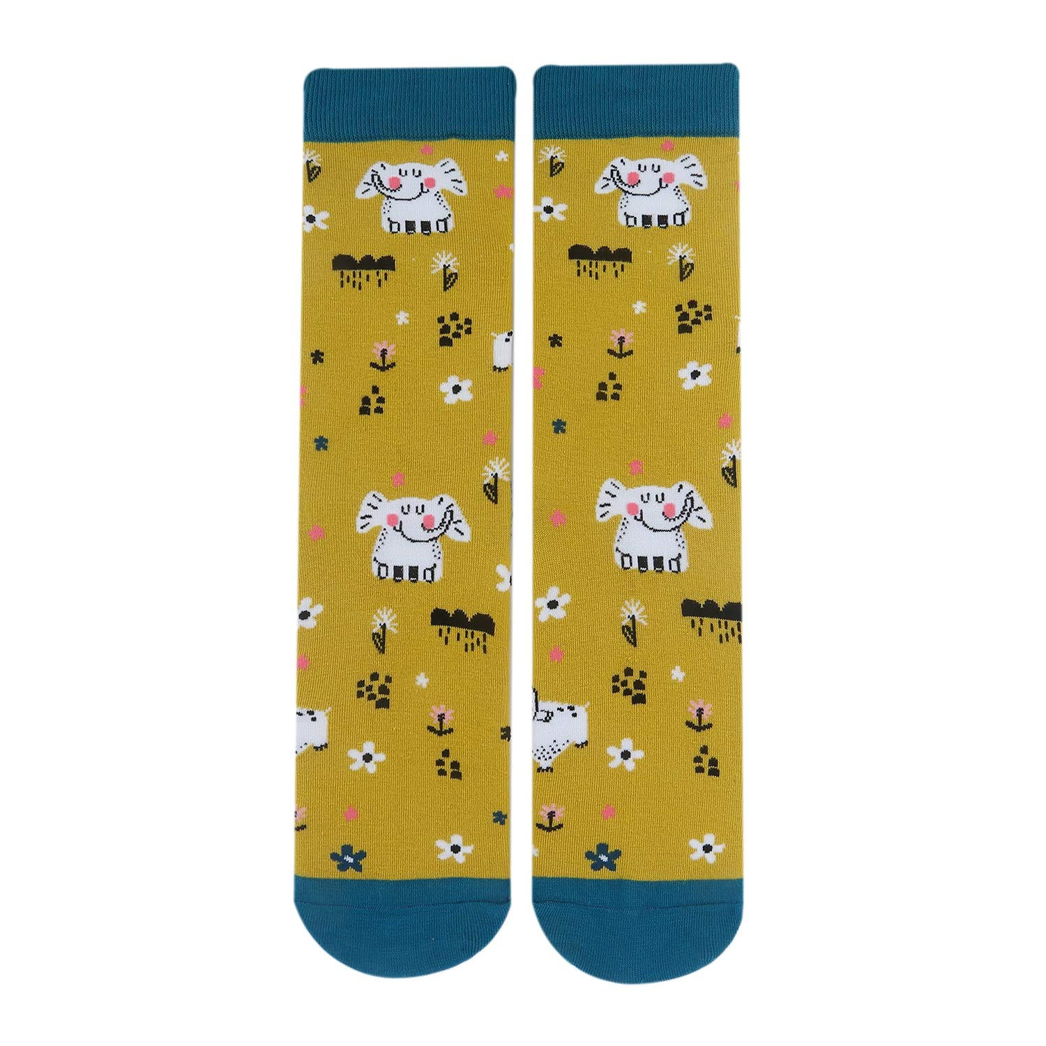 Womens Novelty Elephant Crew Socks Flowers Colorful Funky Patterned Casual Dress Socks