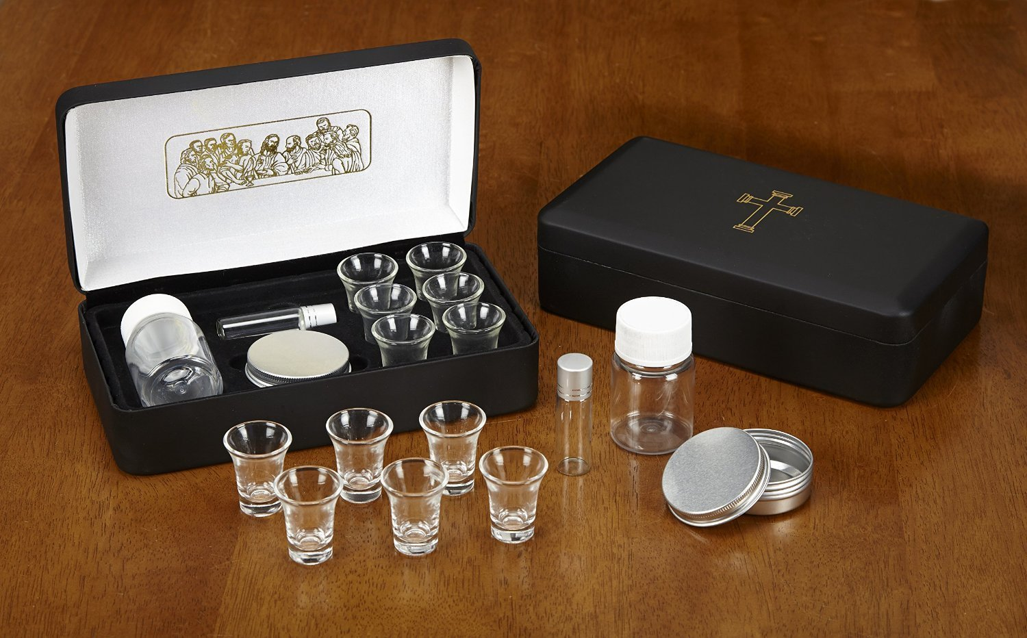 The Last Supper Six (6) Cup Travel Portable Communion Set in Leather Like Case