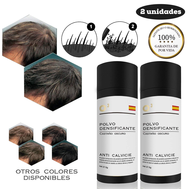 O³ Fibras Capilares Castaño Oscuro 2 Unidades - Keratin Fibers Castaño Oscuro 100% Natural para Disimular Calvicie y Aumentar el volumen. Maquillaje ...