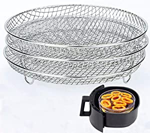 Air Fryer Three Stackable Dehydrator Racks for Gowise Phillips USA Cozyna Ninjia Airfryer,Stainless Steel Air Fryer Rack Fit all 4.2QT - 5.8QT Air fryer,Oven,Press Cooker,Air Flow Racks