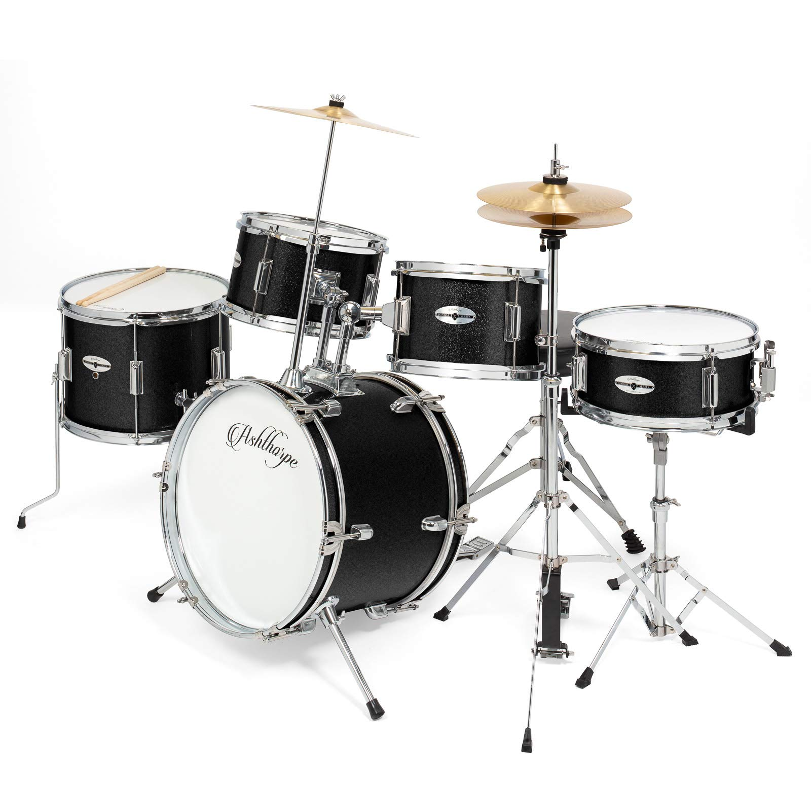 Ashthorpe 5-Piece Complete Kid's Junior Drum Set with Genuine Brass Cymbals - Children's Professional Kit with 16'' Bass Drum, Adjustable Throne, Cymbals, Hi-Hats, Pedals & Drumsticks - Black by Ashthorpe