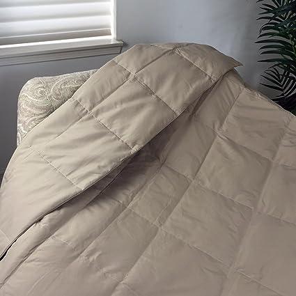 Luxlen Seasons Beige Down Throw Blanket For Couch / Sofa