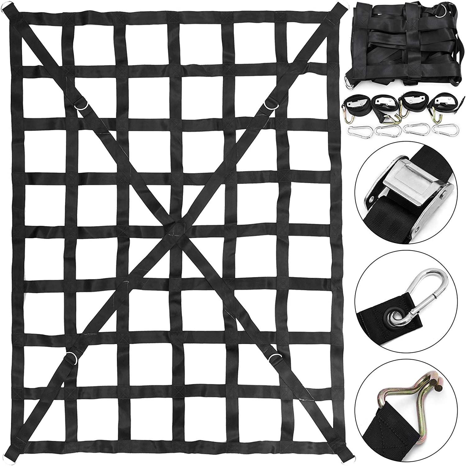 Mophorn 50 x 66 Cargo Net Capacity 4.2 x 5.5 Heavy Duty Cargo Sets for Pickup Trucks with Cam Buckles /& S-Hooks 1100LBS Cross Strap Truck Bed Cargo Net
