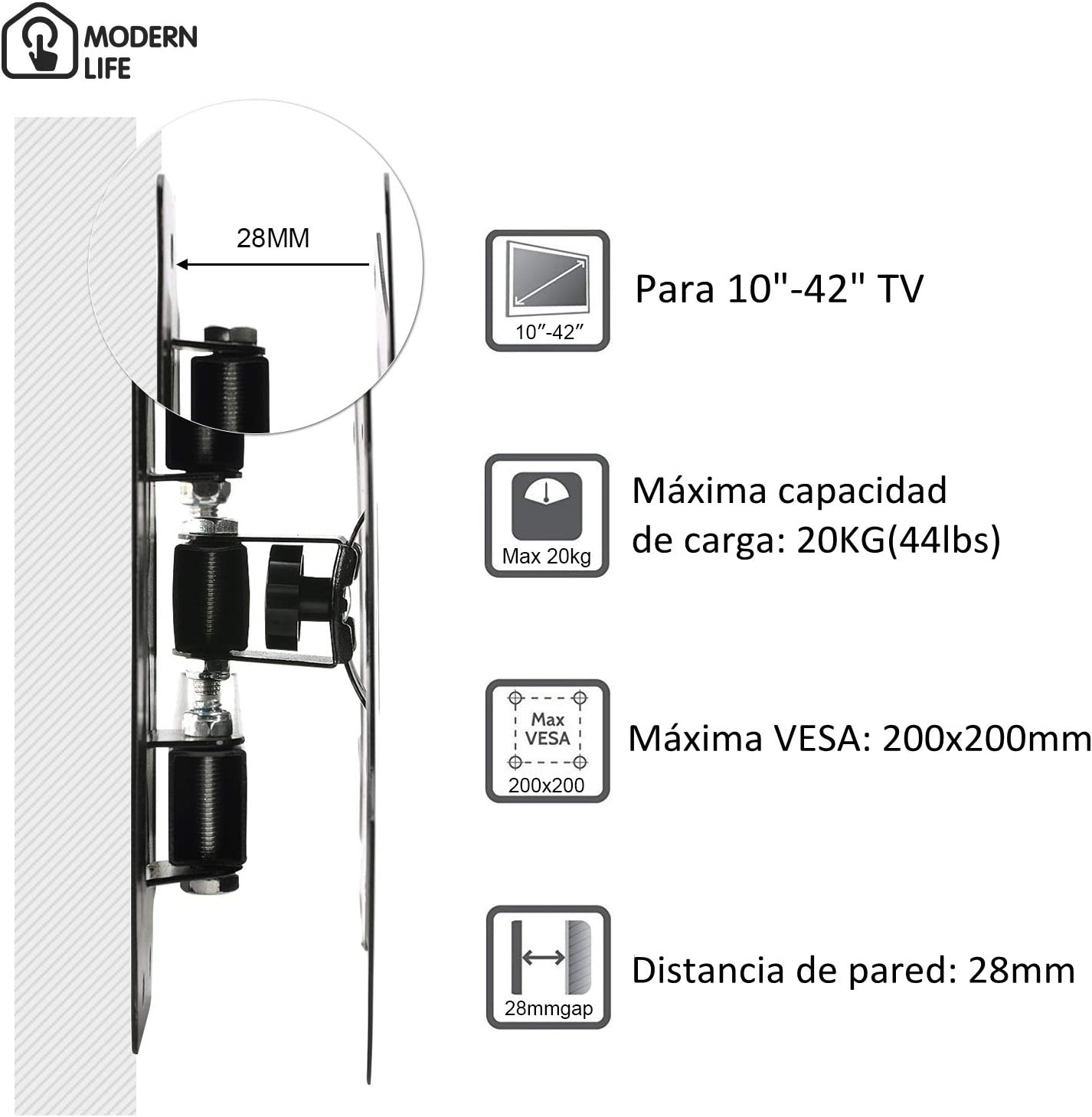 MODERN LIFE Soporte de Pared para TV 14-37 Pulgadas(35-94cm), Inclinable y Giratorio, Máx Vesa 200x200mm, Carga 20KG(44lbs), para Televisores de Pantalla Plana(LED LCD Plasma 4K 3D): Amazon.es: Electrónica