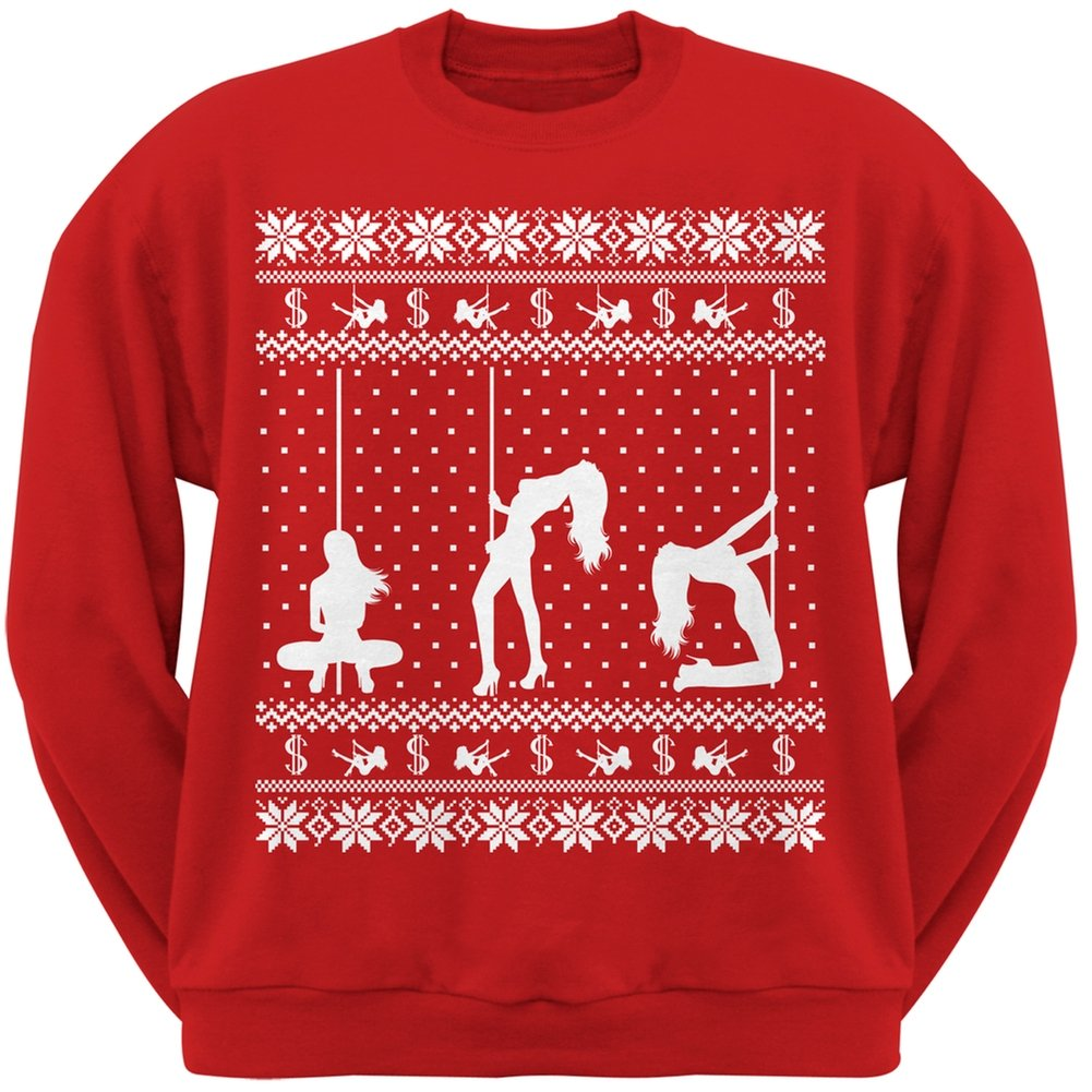 Stripper Silhoutte Ugly Christmas Sweater Red Adult Crew Neck Sweatshirt