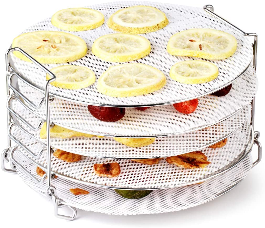 AIEVE Dehydrator Rack, Stainless Steel Dehydrator Stand with Silicone Dehydrator Sheets Accessories Compatible with Ninja Foodi Pressure Cooker and Air Fryer 6.5, 8 Quart, Instant Pot Air Fryer 8 Qt