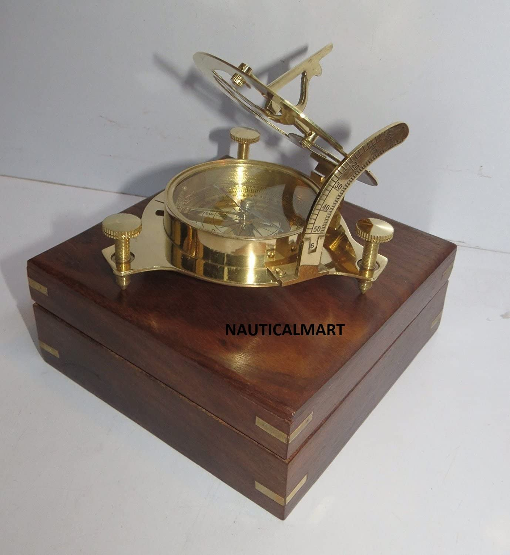 Nauticalmart - Brújula de latón con reloj solar con caja de madera dura: Amazon.es: Jardín