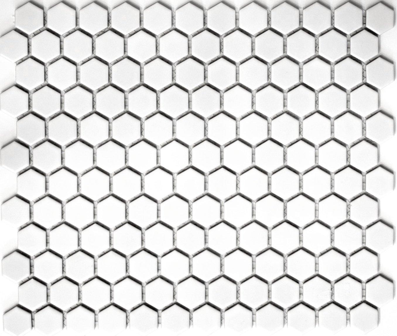 Rete mosaico mosaico piastrelle Hexagon Uni Bianco Lucido ceramica mosaico per piastrelle da parete specchio piatto doccia