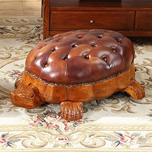 QTQZDD American Solid Wood Shoes Bench,Carved Turtle Footstool with Wheels Leather Storage Bench Pedal with Wooden Legs-B 90x60x35cm 35x24x14inch