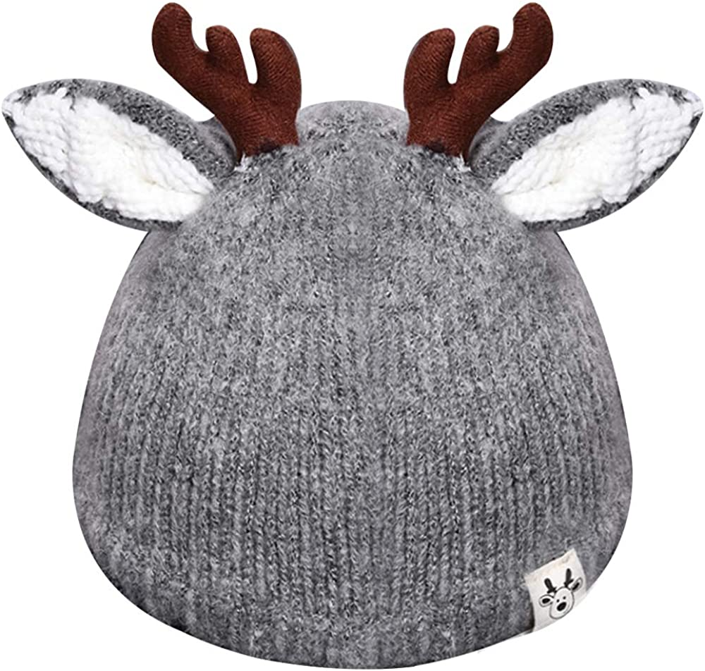 Queena Cute Reindeer Antlers Baby Warm Hat Crochet Knitted Beanie Cap Photo Prop for Toddler Girls Boys Khaki: Clothing