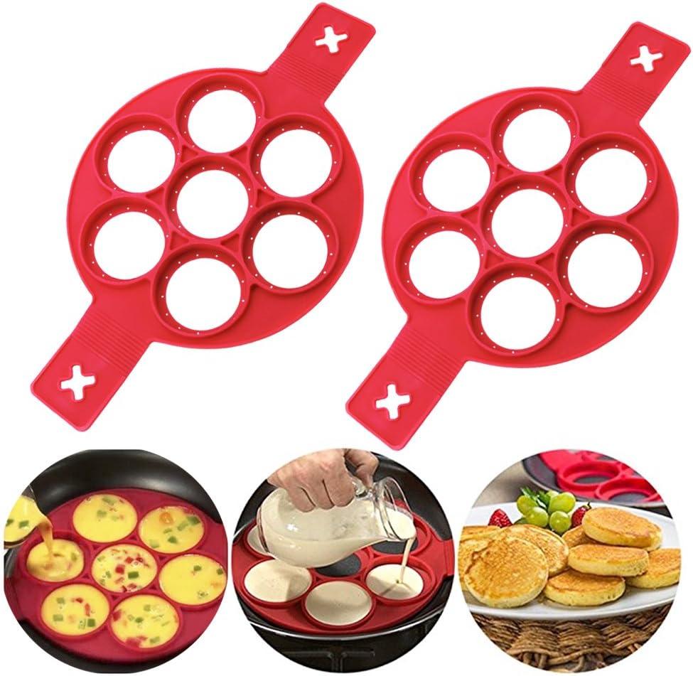 Flip Cooker Pancakes Mold - New Upgrade Silicone Pancake Molds 7 Circles Reusable Non Stick Egg Mold Ring pancake Maker for Kitchen - 2 Pack