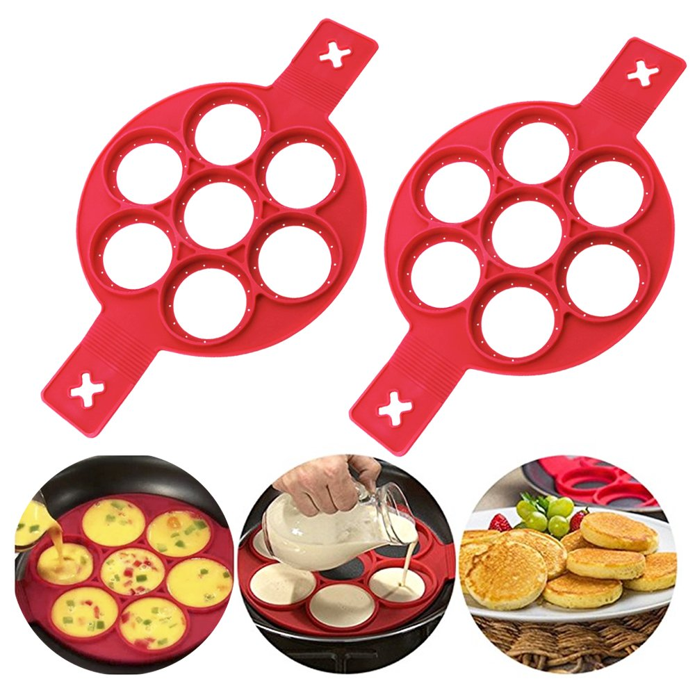 Flip Cooker Pancakes Mold - New Upgrade Silicone Pancake Molds 7 Circles Reusable Non Stick Egg Mold Ring pancake Maker for Kitchen - 2 Pack