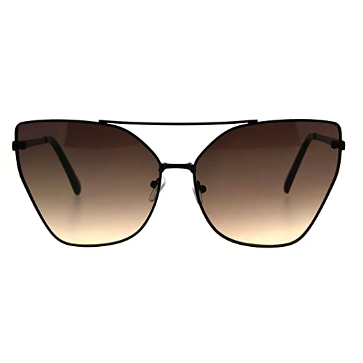 8115aa93503 Womens Color Oceanic Gradient Metal Cat Eye Gothic Sunglasses Black Brown  Smoke