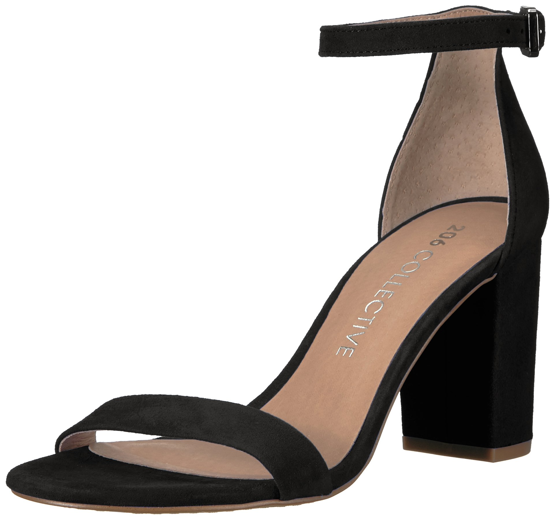 206 Collective Women's Loyal Block Heel Dress High Heeled Sandal, Black Suede, 6 B US