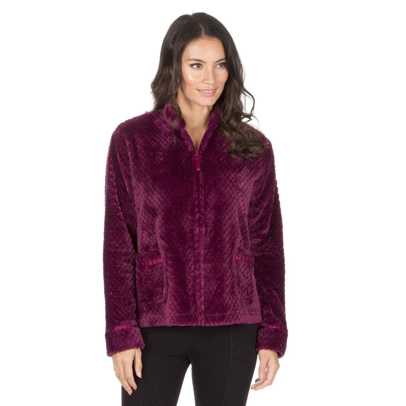 Forever Dreaming Womens Waffle Fleece Bed Jacket - Zip Up Luxury Pyjama Lounge Top