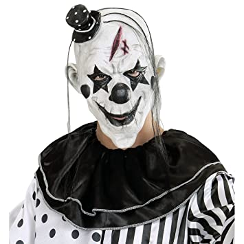 Antifaz payaso killer Máscara de terror payasito con sombrero y pelo Careta terrorífica arlequín Mascarilla pierrot