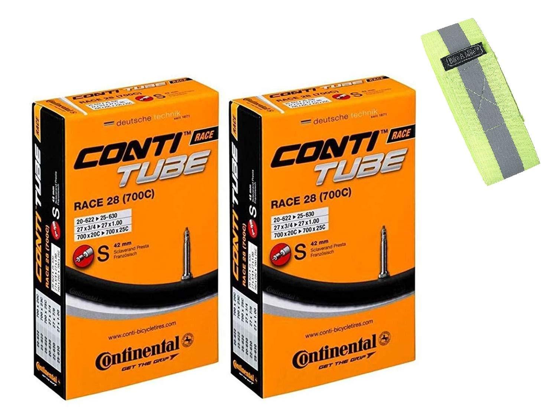 Bike A Mile Continental GatorSkin Bike Tires Folding tire - with Reflective Armband (2 Inner Tubes Presta Valve 42mm, 700 x 32mm) by Bike A Mile