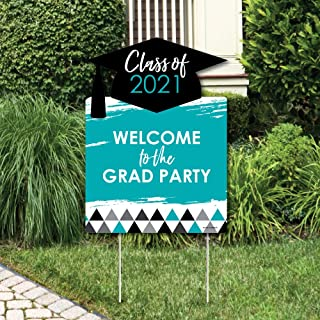product image for Big Dot of Happiness Teal Grad - Best is Yet to Come - Party Decorations - Turquoise 2021 Graduation Party Welcome Yard Sign