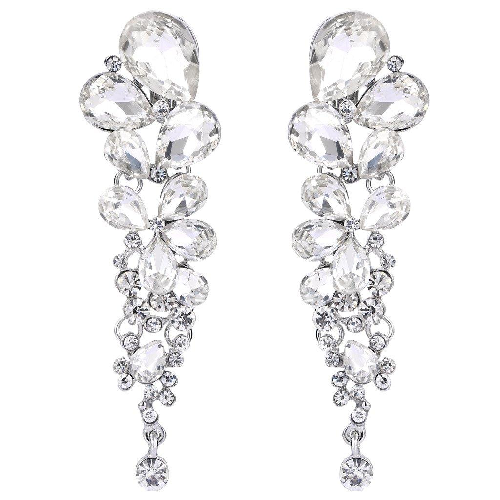 EVER FAITH Women's Austrian Crystal Gorgeous Tear Drop Wedding Clip-on Dangle Earrings Clear Silver-Tone by EVER FAITH