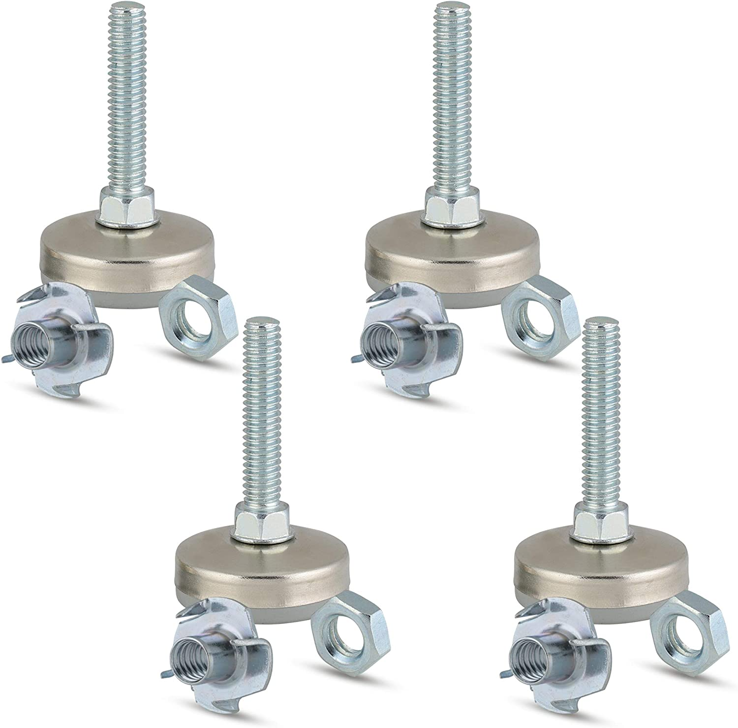Furniture Leveler and Tee Nut Kit, Leveling Feet for Tables, Chairs, and Cabinets, 5/16-18 Inch Tread Size, 1 3/8 Inch Non Skid Base Diameter, with Jam Nuts (Kit with 4 Prong T-Nuts)