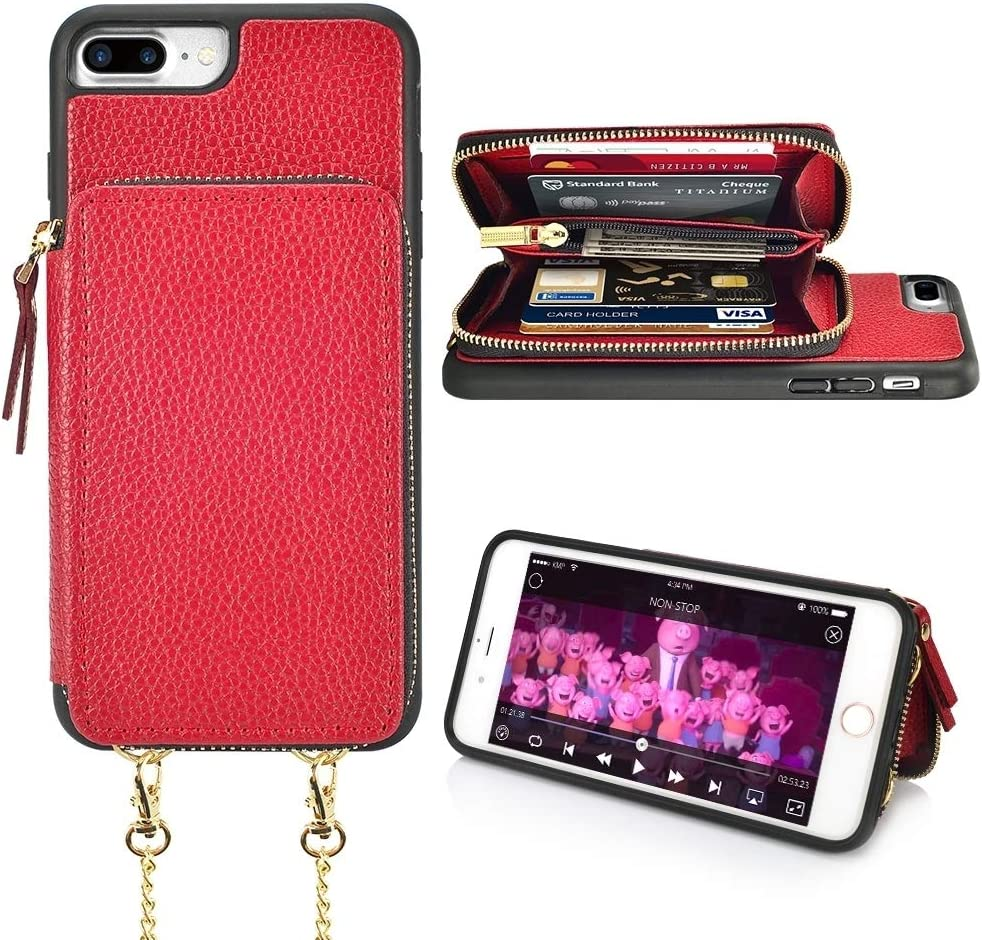 LAMEEKU iPhone 7 Plus Card Holder Case, iPhone 8 Plus Wallet Case, Zipper Leather Case with Cards Slots Wrist Strap Crossbody Chain, Protective Cover for iPhone 7 Plus / 8 Plus 5.5'' - Biking Red
