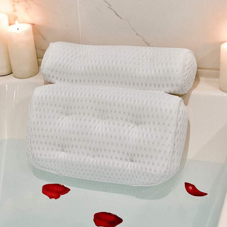 MKUTO お風呂 まくら 枕 バスピロー 吸盤付き バスタブ リラックス 浴用品 (ホワイト) の画像