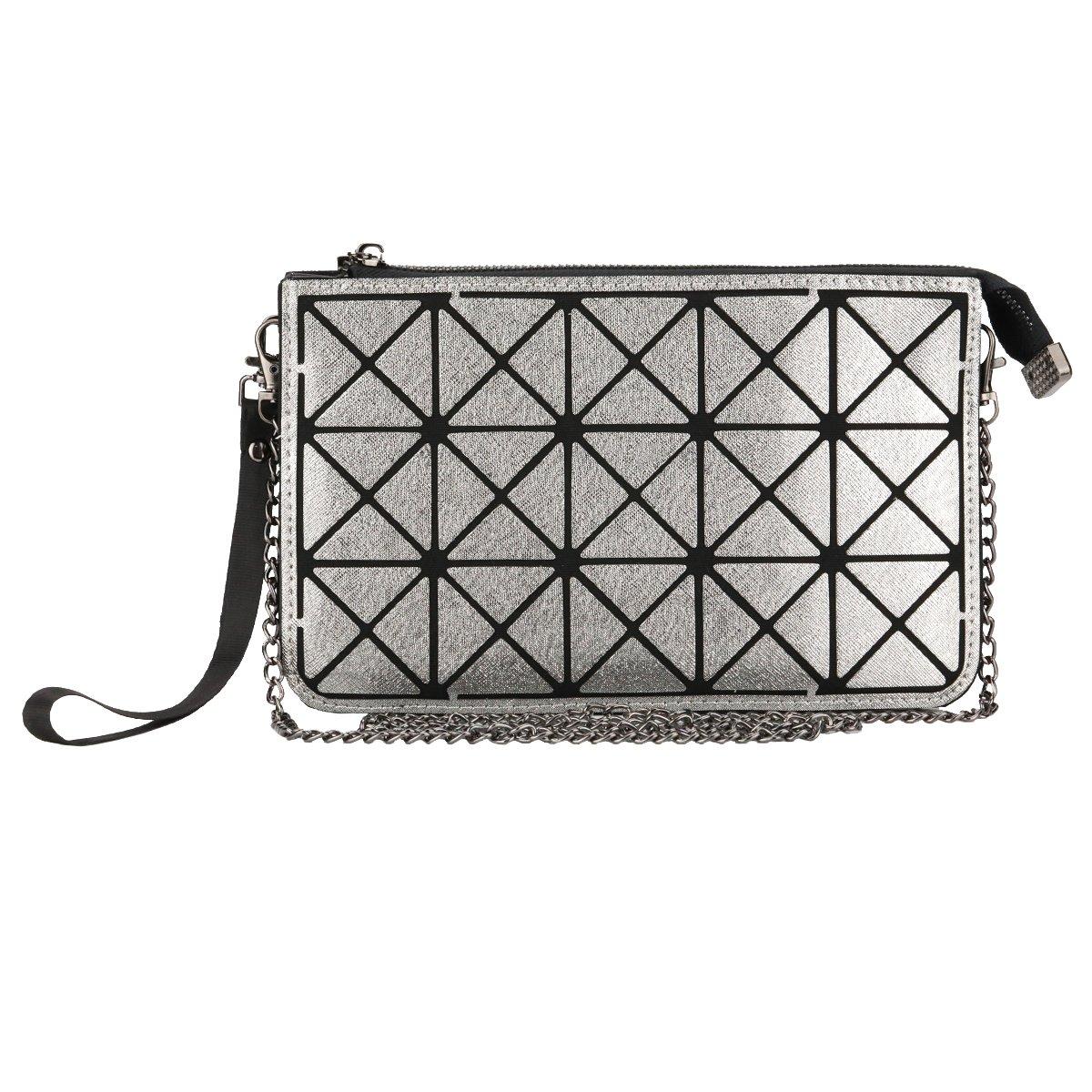 Women Wristlet Wallet Clutch - Geometric Crossbody Purse Bags - Black Gunmetal, by Beaulegan