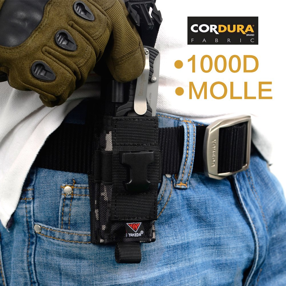 vAv YAKEDA Tactical Molle Single Pistol Mag Pouch1000D Nylon Carry All Folding Knife Belt Sheath
