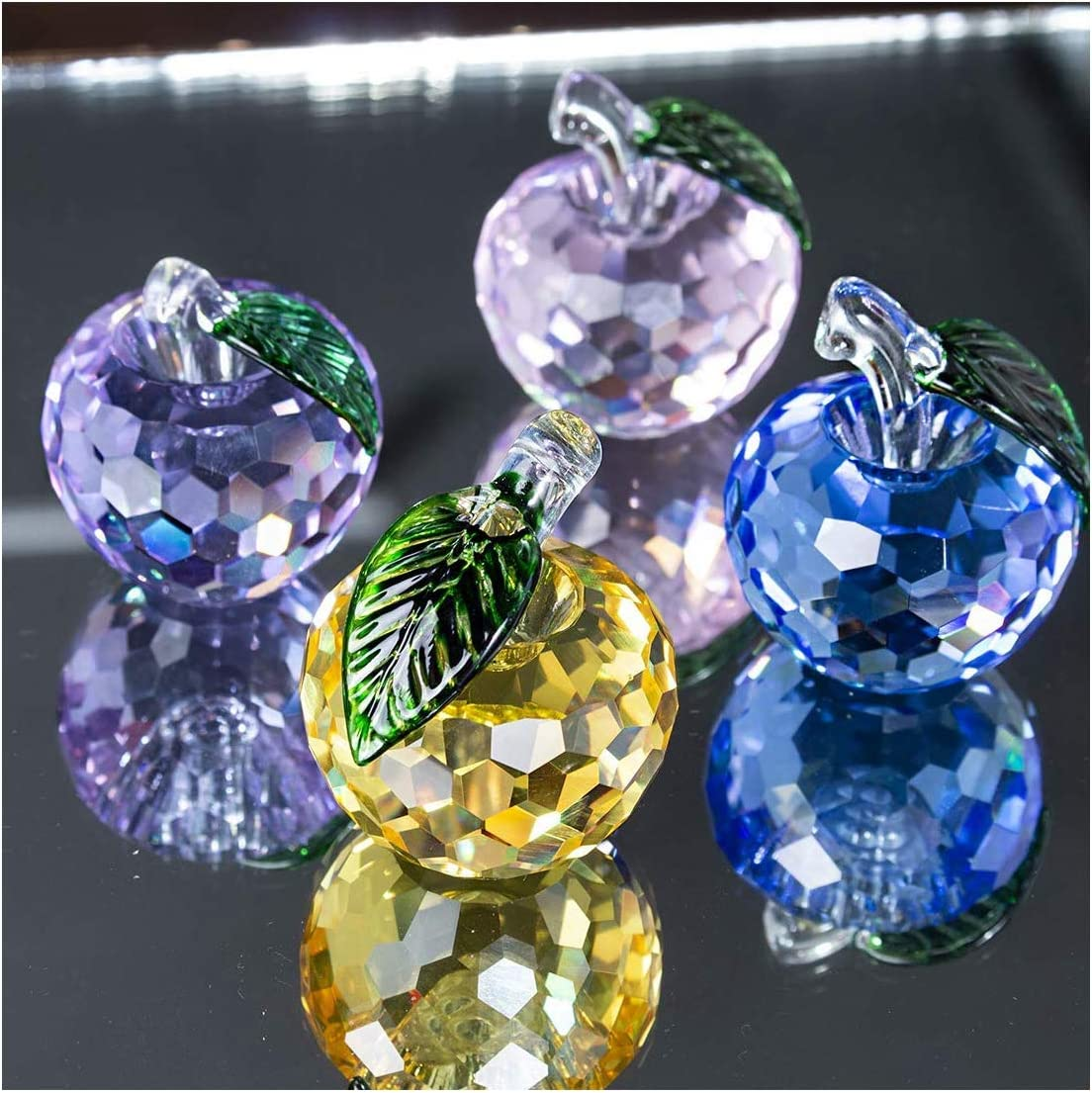 H&D HYALINE & DORA Crystal Apple Figurines Glass Apple Paperweight Home Desktop Ornament (Apple-Set of 4)