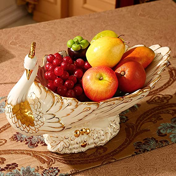2-Layer Oval Bowl Household Fruit Pot Stoneware,B LXDMH Ceramic Fruit Plate Household Double Fruit Plate Dried Fruit Plate Living Room Snack Stand