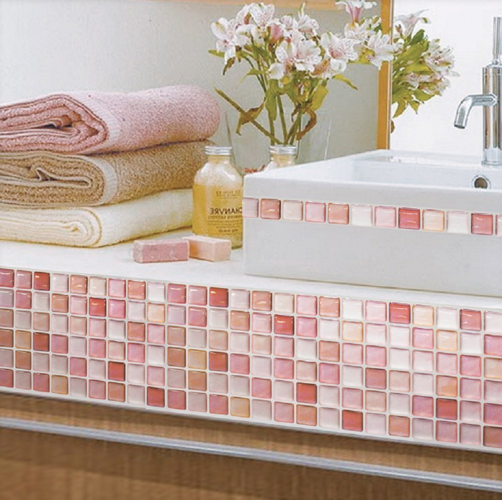 Beaustile N Red Mosaic 3D Wall Sticker
