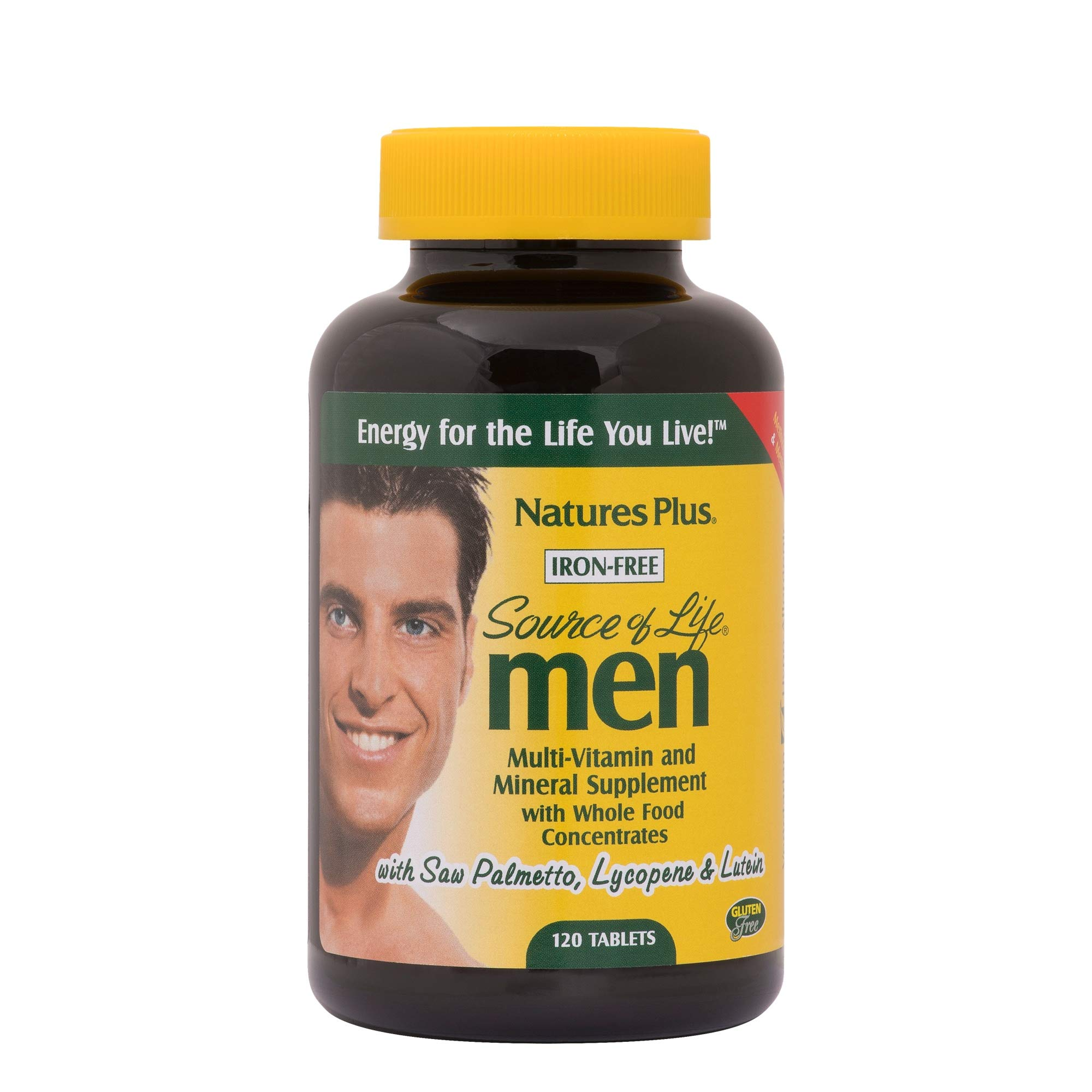 Natures Plus Source of Life Men - 120 Vegetarian Tablets - Natural Multivitamin for Men, Whole Foods, Minerals for Overall Health, Energy - Gluten Free - 60 Servings