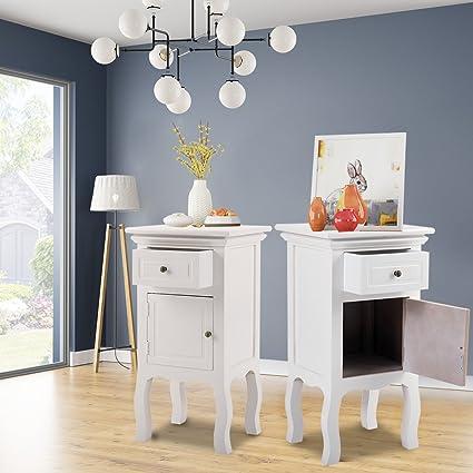 Amazon.com: LAZYMOON Set of 2 Wooden Nightstand End Side Table ...